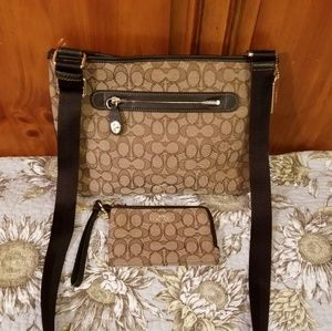 Coach crossbody purse with matching wallet